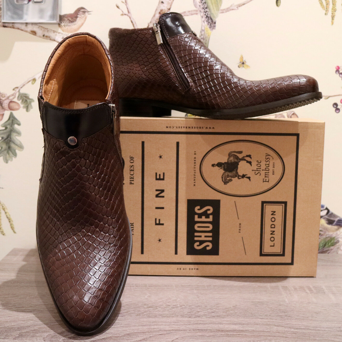 Shoe Embassy Men Brown Leather Smart Ankle Boots Shoes 42 EU Fit 10 UK