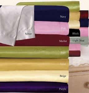 Satin-Polyester-Silk-US-Cal-King-Size-Fitted-Flat-Sheet-Sheet-Set-Duvet-Set
