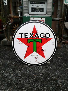 CLASSIC XTRA LARGE 37 INCH TEXACO GASOLINE SIGN WITH RUSTY LOOK