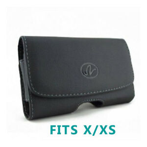For-iPHONE-X-XS-BLACK-LEATHER-SIDE-CASE-COVER-POUCH-BELT-CLIP-HOLSTER-w-LOOPS