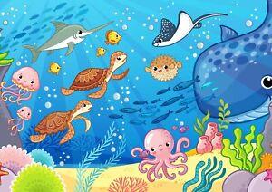 Details About A3 Cartoon Fish Tank Aquarium Poster Print Size A3 Kids Poster Gift 16803