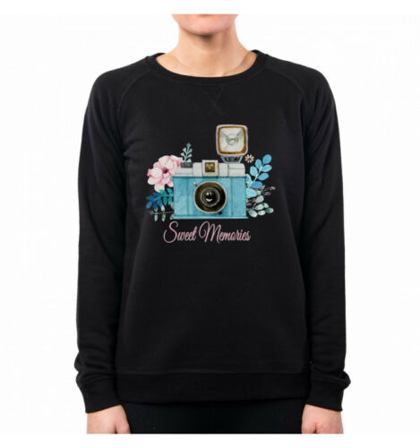 Photo 'Impression Aquarelle Photos Vintage Rétro N Femme Photo Appareil Sweatshirt q6x7vfx
