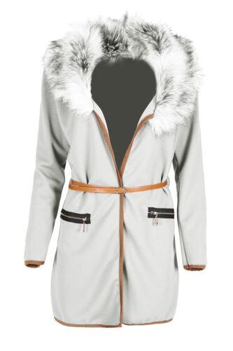 Ladies Zip Pockets Blazer Womens Jacket Belt Cape Cardigan Tops Faux Fur Coat