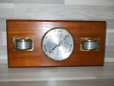 Vintage Weathermaster Barometer, thermometer and hygrometer wood bras details