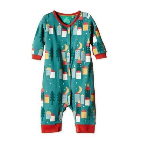 Little Green Radicals Playsuit Sleepy Village Organic Cotton all in 0 3 6 9 12