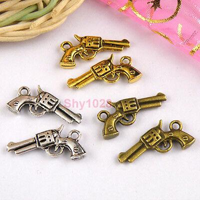 10Pcs Tibetan Silver,Gold,Bronze Gun Charms Pendants Double-sided M1140