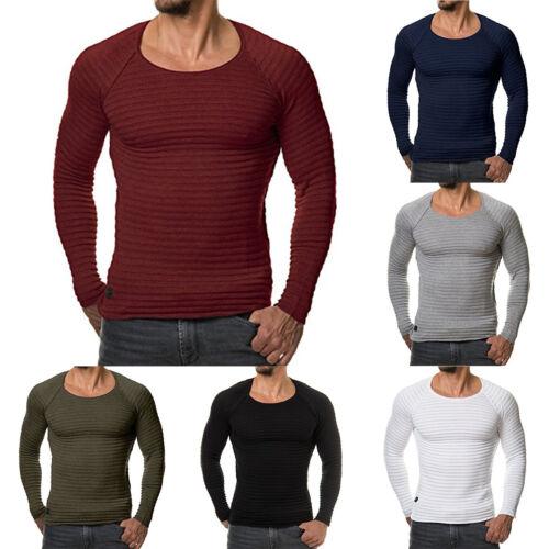 Mens Knitted Crochet Shirt Long Sleeve T Shirt Muscle Pullover Slim Jumper Tops