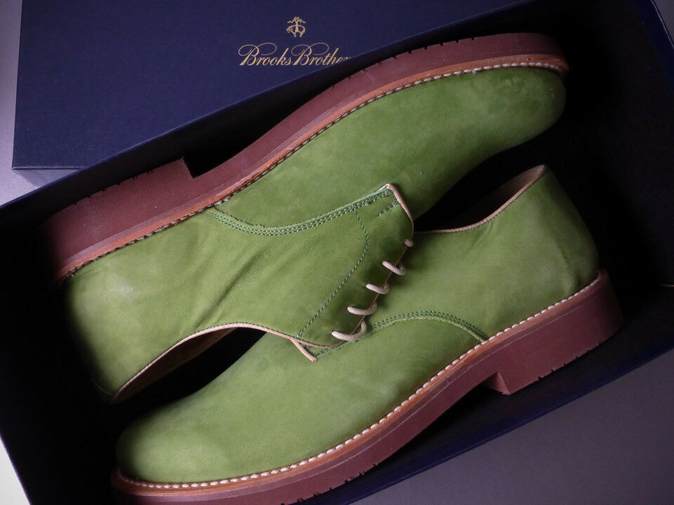 Brooks Bredhers NEW Classic Bucks Green Nubuck Oxford shoes Goodyear Welt