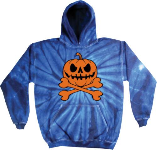 Mens Halloween Pumpkin Skeleton Tie Dye Hoodie