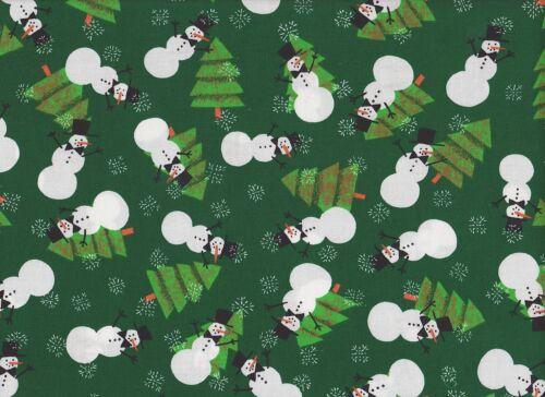 Green Snowman Christmas Fabric 115cm Wide per metre