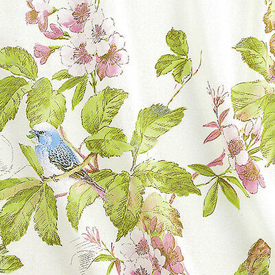 "LINEN COTTON CURTAIN UPHOLSTERY FABRIC ANTIQUE ORIENTAL GARDEN BIRDS WHITE 54""W"