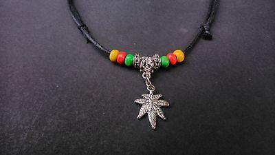 Black waxed cord Rasta Hemp Leaf surfer necklace / choker adjustable Bob Marley