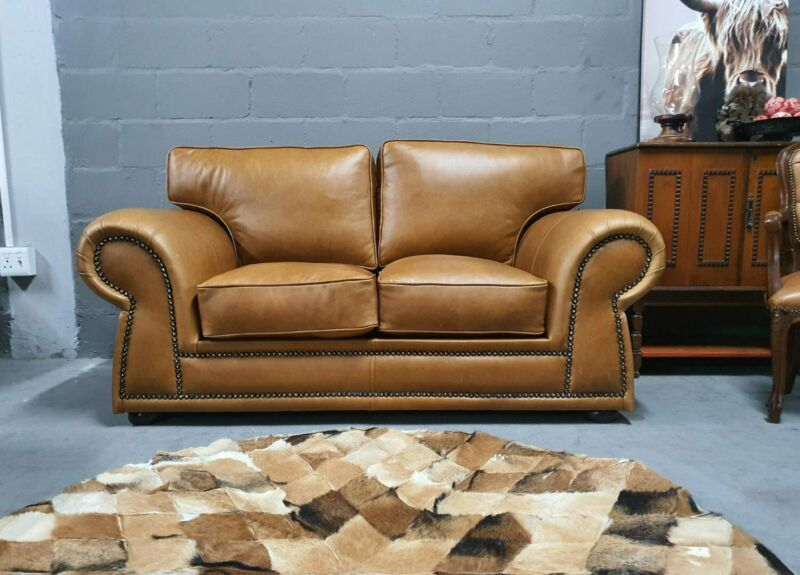 Brand new Genuine Leather STUDIO STUDDED SOFA, 1.8m Two seater