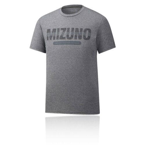 Mizuno Herren Heritage Kurzarm Tee Top Laufshirt Sportshirt Fitness T Shirt Grau