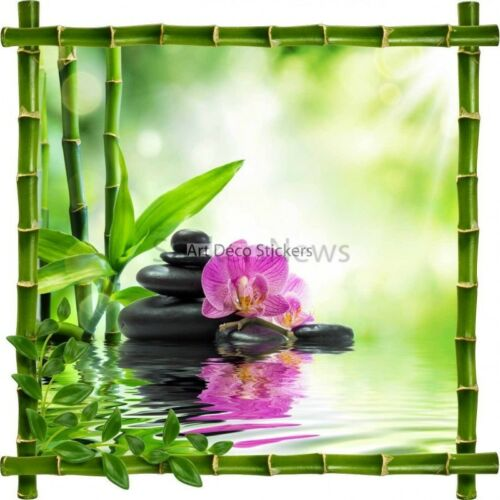 Sticker decal frame bamboo bamboo and pebbles zen7161