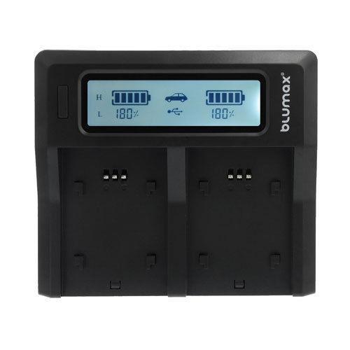 Blumax LCD Dual Ladegerät mit 2 Akku für Canon EOS 70D 7D Mark II 6D Infochip