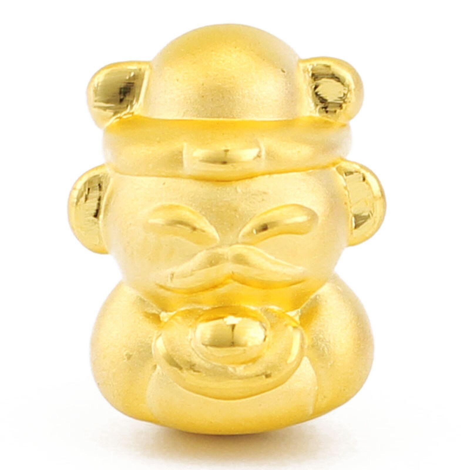 Pure 999 24K Yellow gold Bead 3D Cute God Of Wealth Pendant   1.5g