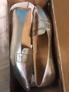 Women-Fashion-Dress-Ballet-Flat-Shoes-Brilliant-Silver-Pointy-toe
