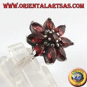 Anello-d-039-argento-stella-di-Granati-naturali-taglio-navetta-sfaccettata