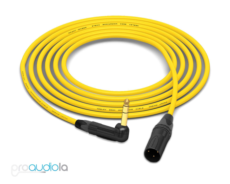 Mogami 2534 Quad Cable   Neutrik Gold 90º TRS to XLR-Male   Gelb 25 Feet 25'
