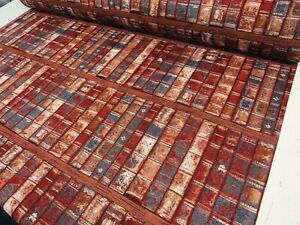 Heavy-Tapestry-Vintage-Library-Books-Antique-Curtain-Upholstery-Quality-Fabric