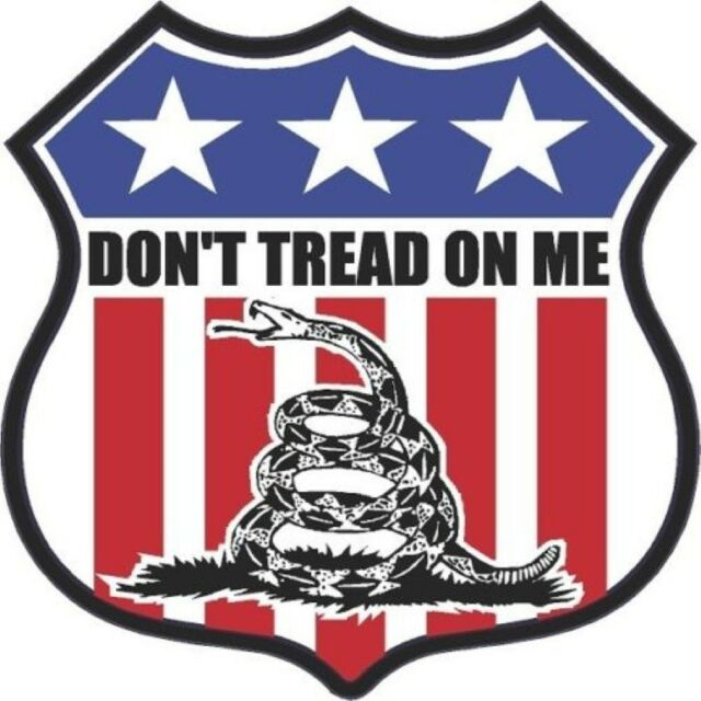 DON'T TREAD ON ME BUMPER STICKER/DECAL SHIELD AMERCIAN FLAG SHIELD LARGE