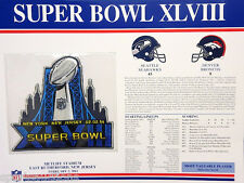 SUPER BOWL 48 Seahawks Broncos OFFICIAL SB XLVIII NFL PATCH 2014 Willabee & Ward