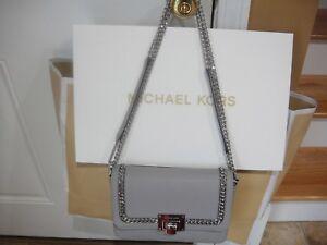 65bfc466e435 NEW MICHAEL KORS TINA ASH GREY MED SHOULDER FLAP CHAIN LEATHER BAG ...