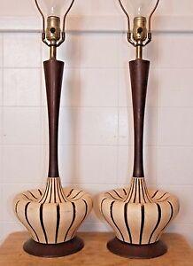 pair danish modern ceramic wood table lamps mid century vintage ebay. Black Bedroom Furniture Sets. Home Design Ideas