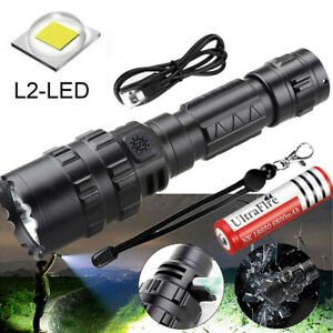 Super-Bright 90000LM Flashlight CREE LED L2 Tactical Torch LED Recharge Battery