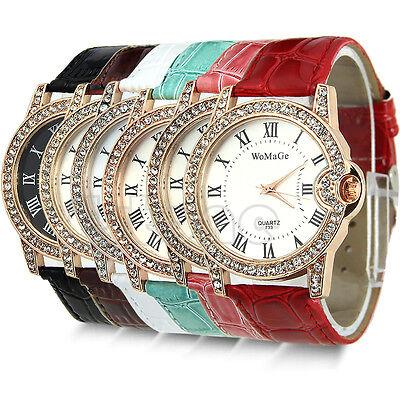 Rhinestone Ladies Quartz Wrist Crystal Leather Watch Sport Classic Dial Womens