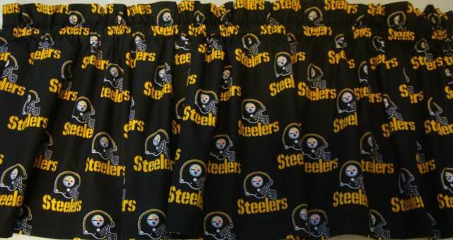 "Pittsburgh Steelers Valance Curtain Black Background Custom Made 57"" Wide Topper"