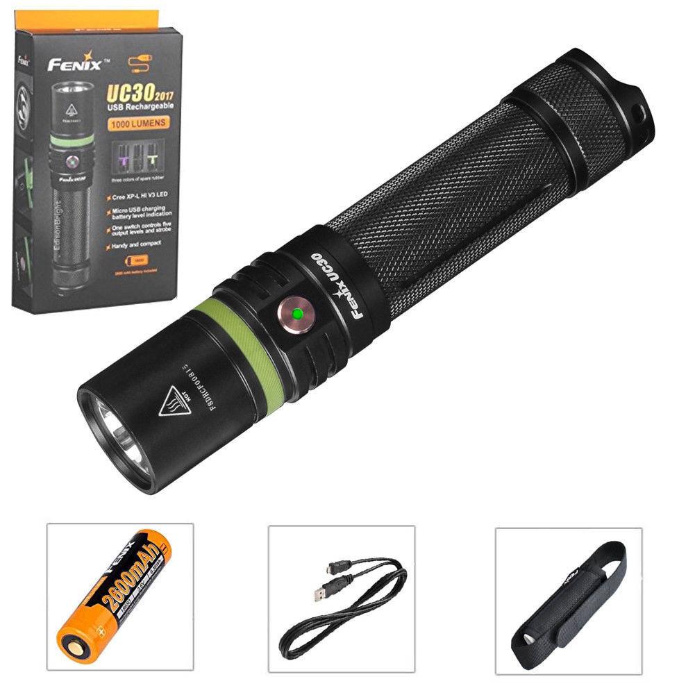Fenix 1000LM USB Charging Flashlight UC30 CREE XPL HI LED 18650 Torch  Battery