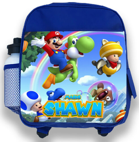 Personalised Kids Backpack Any Name Mario Boy Childrens Back To School Bag 3