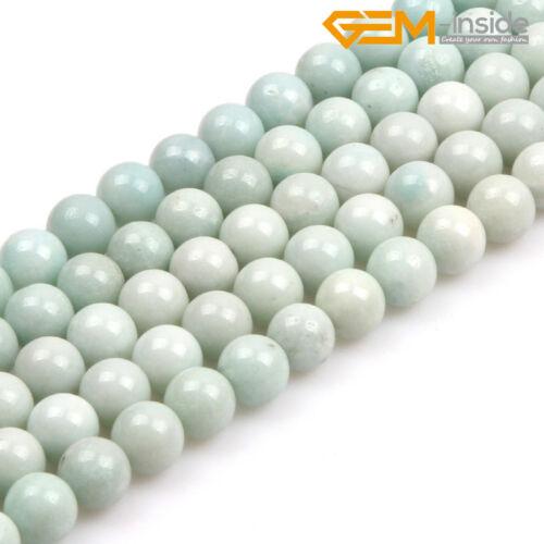 """Natural Round Green Amazonite Loose Stone Spacer Beads For Jewellery Making 15/"""""""