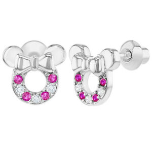 98ccd7acd Rhodium Plated Clear Fuchsia Crystal Mouse Bow Screw Back Girls Kids ...