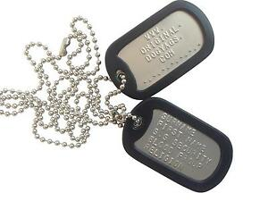 MILITARY-DOG-TAGS-ARMY-DogTags-26-034-CHAIN-amp-SILENCERS-EMBOSSED-PERSONALISED-FREE