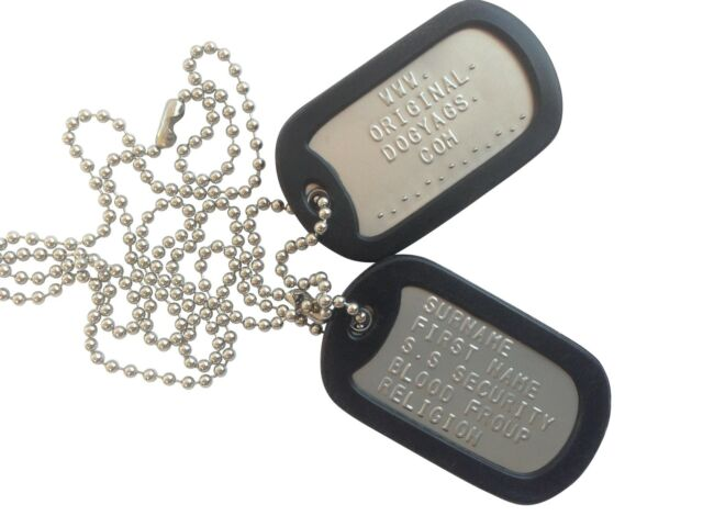 "MILITARY DOG TAGS ARMY DogTags 26"" CHAIN & SILENCERS EMBOSSED PERSONALISED FREE"