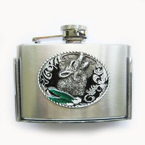 Wolf-3oz-Stainless-Steel-Flask-Belt-Buckle-Gurtelschnalle-also-Stock-in-US
