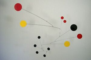 Red Black and Yellow Mobile Mid-century Modern Sculpture Retro Hanging Art