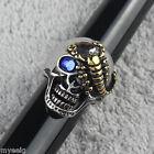 Men's Blue CZ Crystal 316L Stainless Steel Silver Gold Scorpion Skull Biker Ring