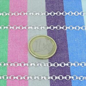 2,5 Mètres Chaîne Métallique 4mm A165 Argenté Argento Kette Catena Bijoux, Montres Autres