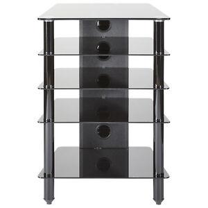 Mmt Hi Fi Stand Rack 5 Shelf Cabinet Black Glass Chrome Legs Extra Deep 500mm Ebay