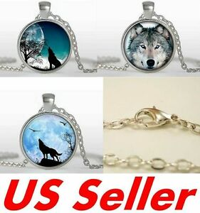 Necklace jewelry howling lone wolf face huge moon bird pendants ebay image is loading necklace jewelry howling lone wolf face huge moon aloadofball Images