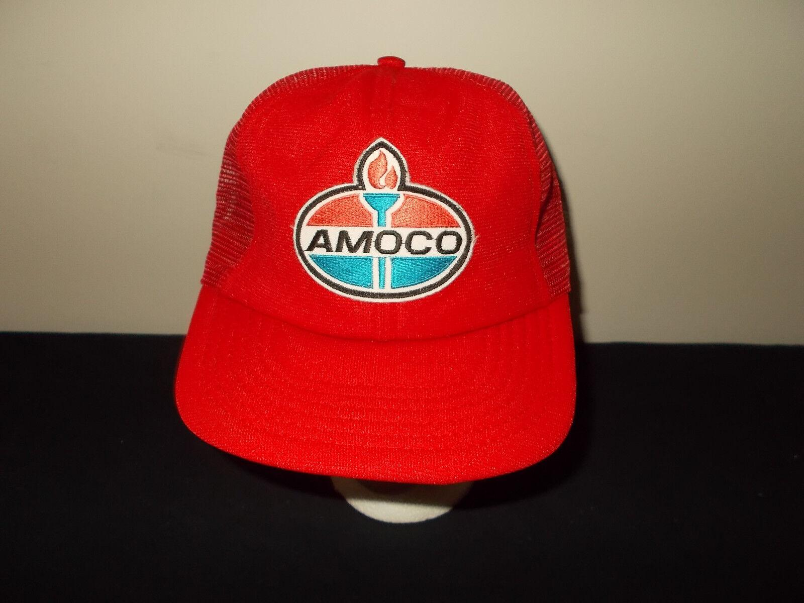 Vtg-1980s Amoco Gas Öl Station Werbung Patch Service Netz Hut Sku12       Gute Qualität
