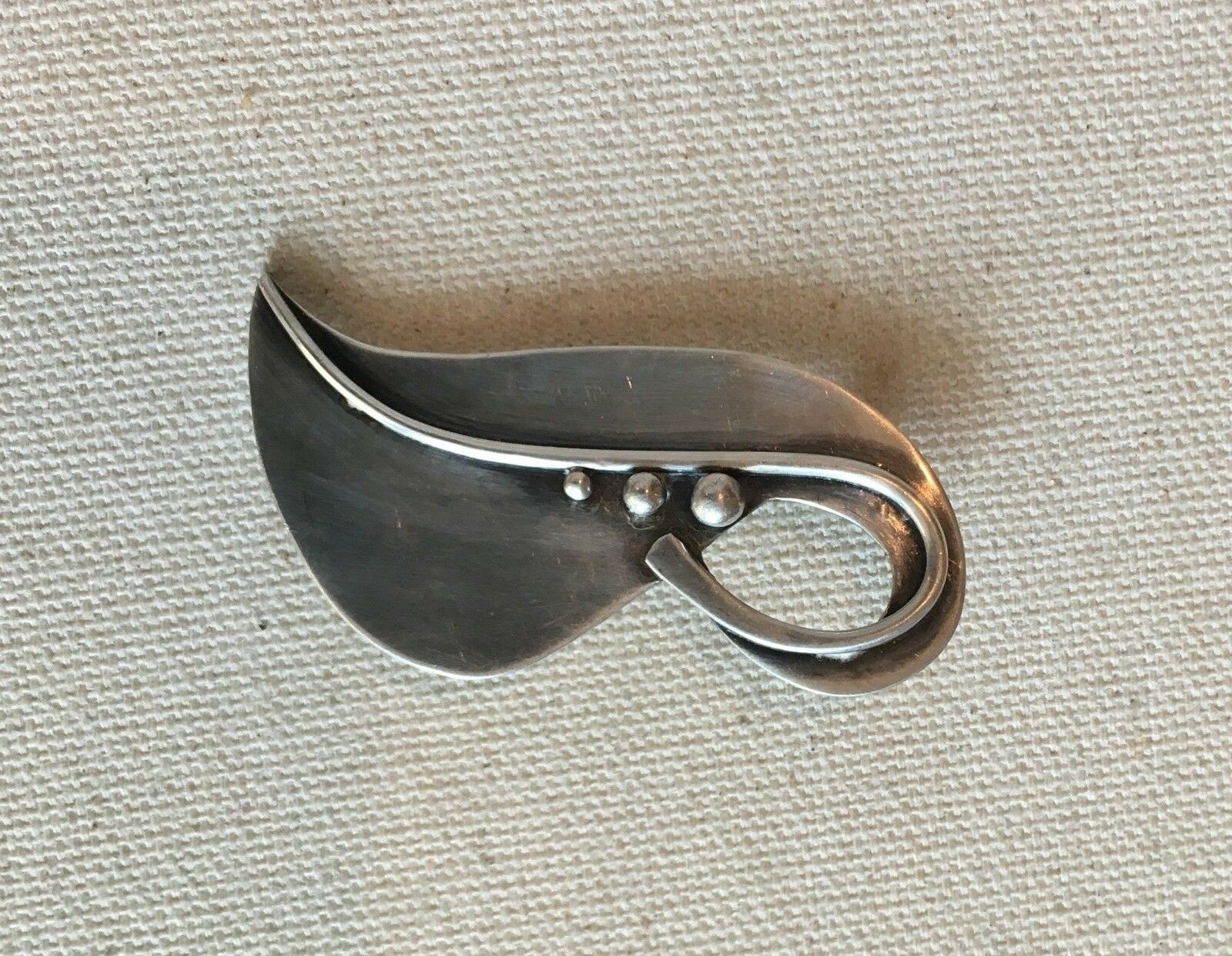 Vintage Pin Leaf Danish Modern Abstract Caviar Accent Tested Sterling 2