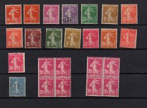 France-16-timbres-semeuses-2-blocs-de-4-neufs