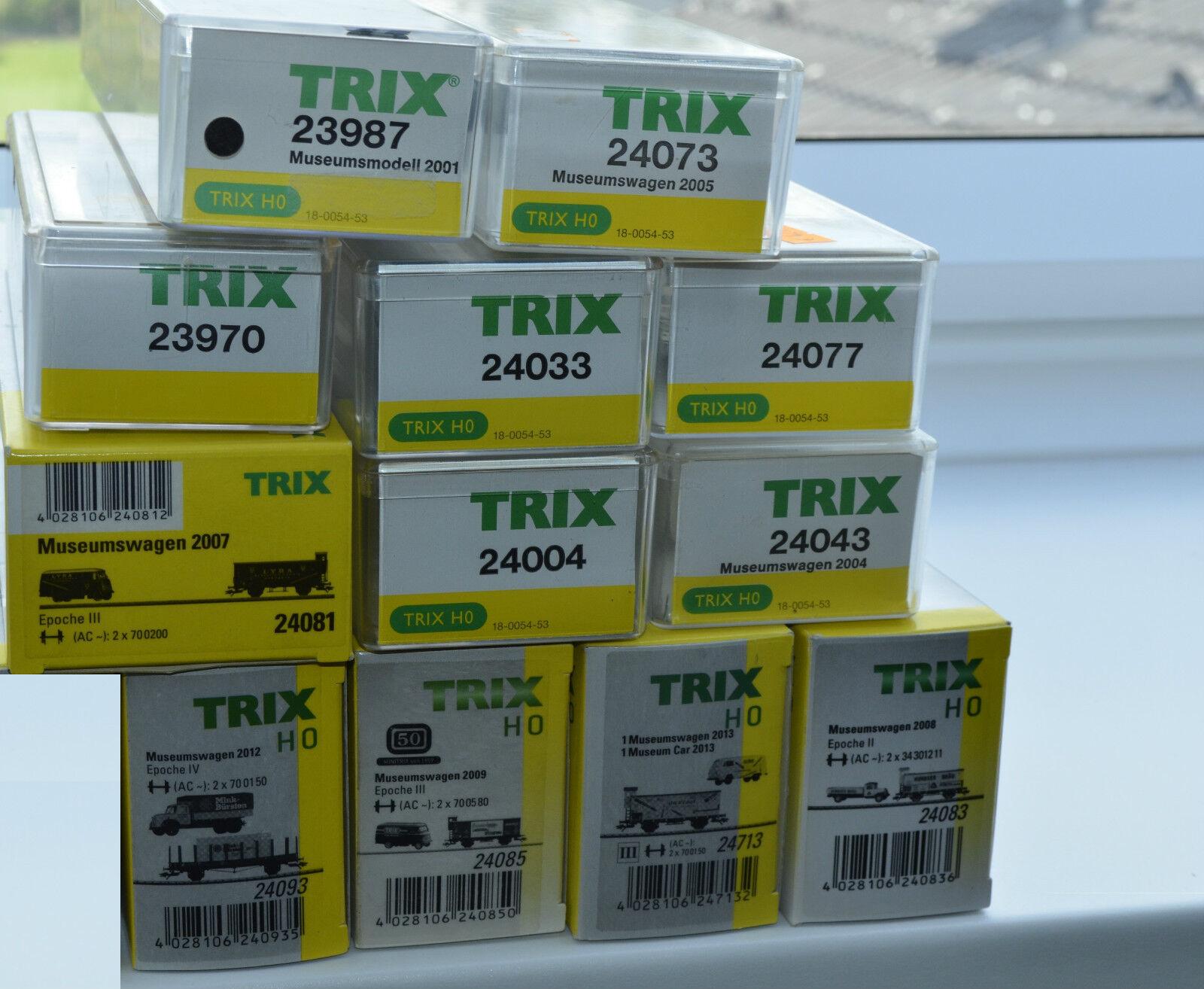 Trix 12x Museumswagen Set 23970,23987,24004,24033,24043,24073,24077,24085 NEU