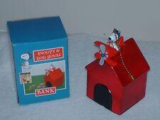 SNOOPY RED BARON DOG HOUSE PIGGY BANK AIRPLANE FAN LIGHT PULL PEANUTS VTG NIP