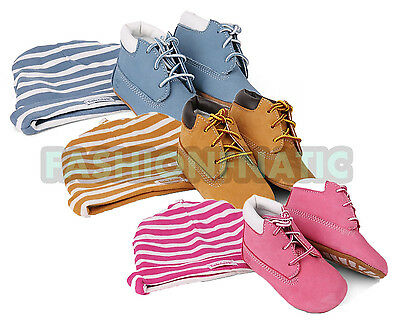 TIMBERLAND INFANTS BABY BOOTIES GIFT SET HAT SHOES PRESENT PINK BLUE WHEAT